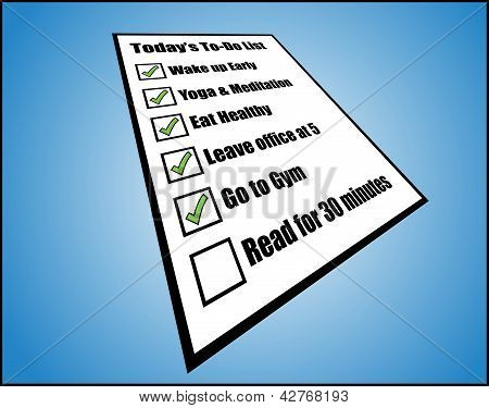 Concept Illustration Of To Daily Or Day Today Do List Or Task List - Perspective View Of A While Pap