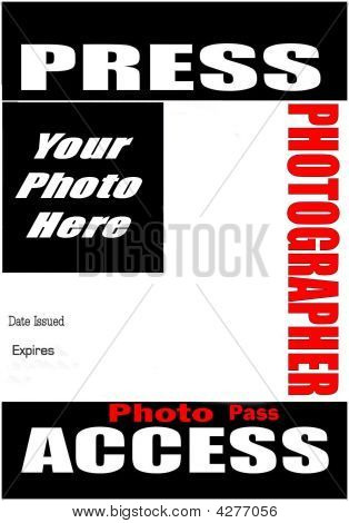 Blank press pass stock photo stock images bigstock for Press pass request template