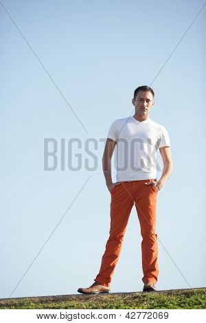 Stock image of a man on a hill
