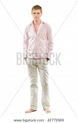Young Man In Pants And Shirt