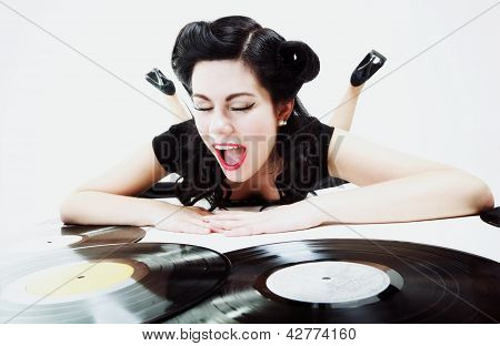Sexy Girl With Phonography Analogue Record