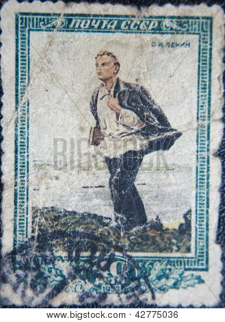 RUSSIA - CIRCA 1952: stamps printed by USSR in 1952 shows  portrait of  young Socialist leader Lenin
