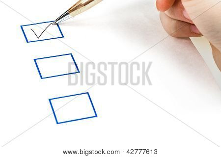 Put Tick In Blue Square Box