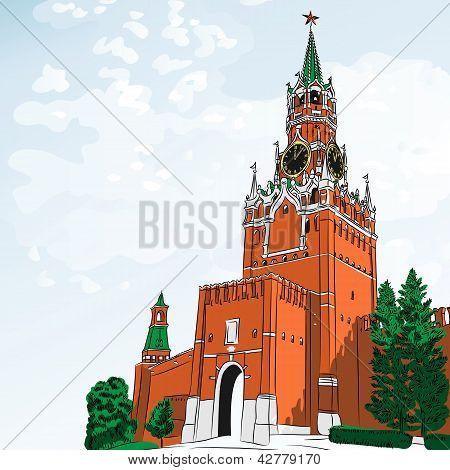 Bosquejo de vector de el Kremlin de Moscú, Rusia