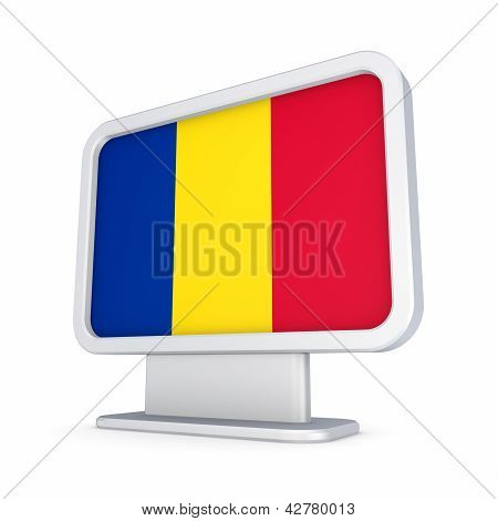 Romanian flag in a lightbox.