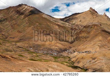 Mountain Village In Himalayas