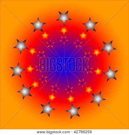 Aimless-color Abstract Composition With A Color Stars On A Brown Background And Blue Ball.