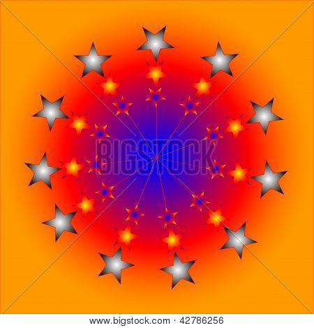 ziellos Farbe Abstrakte Komposition mit einer Farbe-Stars auf einen braunen Hintergrund und blauer Ball.