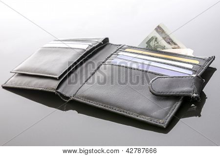 Old Open Wallet With Money And Credit Cards