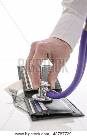 Checking Open Wallet With Stethoscope