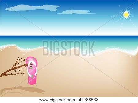 An Illustration Of A Sandal On The Beach