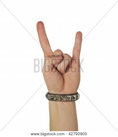 Sign Of The Horns With Bracelet