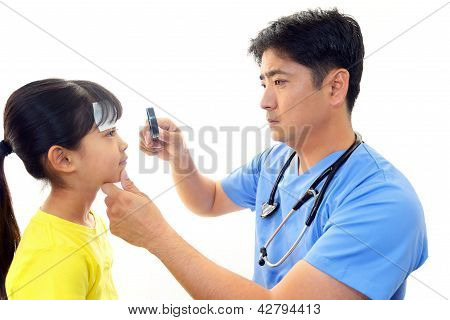 Child having physical examination