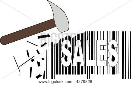 Hammer With Barcode And Sales.