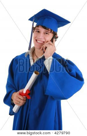 Young Male College Graduate Making Phone Call