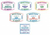 picture of french polynesia  - Hawaii and French Polynesia passport stamps in vector format - JPG