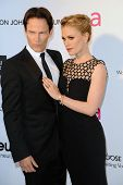LOS ANGELES - FEB 24:  Stephen Moyer, Anna Paquin arrive at the Elton John Aids Foundation 21st Acad