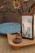 picture of raku  - zen spa still life with raku vase - JPG