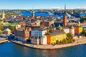 image of scandinavian  - Scenic summer aerial panorama of the Old Town  - JPG