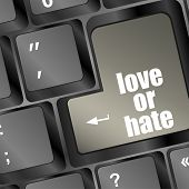 image of love hurts  - love or hate relationships communication impressions ratings reviews computer keyboard key - JPG