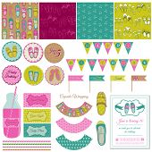 Baby Girl Shoes Party Set - for birthday, decoration, scrapbook - in vector