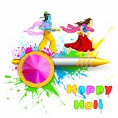 stock photo of radha  - illustration of Radha and Lord Krishna playing Holi - JPG