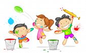 image of holi  - illustration of kids playing holi with color and pichkari - JPG
