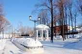 stock photo of perm  - avenue in a winter park city Perm Russia - JPG