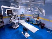 stock photo of emergency treatment  - new operating room in Hospital view from above - JPG