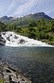 Norway - Waterfall In Hellesylt-Geiranger, Europe Travel Destination poster