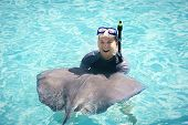 foto of stingray  - Fun Swimming with the Stingrays - JPG