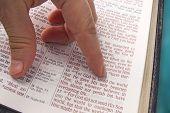 foto of bible verses  - Reading bible verse closeup Golden verse John 3 16  - JPG