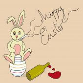 picture of vicious  - Jokey vicious Easter Bunny sitting in a decorative egg smoking and drinking - JPG