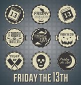 stock photo of serial killer  - Collection of retro style Friday the 13th labels and icons - JPG