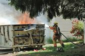 "pic of dumpster  - ""Dumpster on Fire"" Large commercial dumpster on fire behind homes being demolished for new fire station Roseburg OR - JPG"