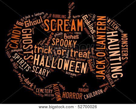 Word Cloud showing words dealing with Halloween in the shape of a jack-o-lantern on a black background