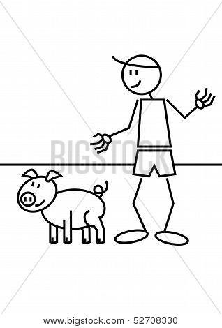 Stick Figure Pig