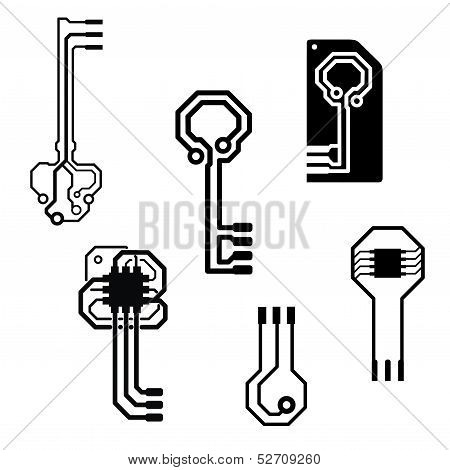 Vector electronic circuit keys