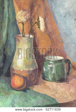 Still Life: Flowers In Jug And Mug