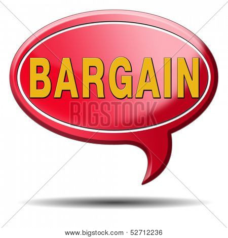 bargain icon or button. Lowest price and great sales deal and reduction or sale promotion with special price cut. Red text balloon.