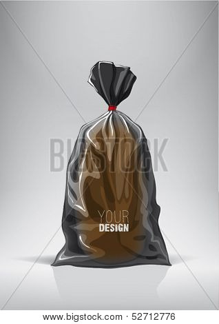 Black bag for new design bread package. Sketch style