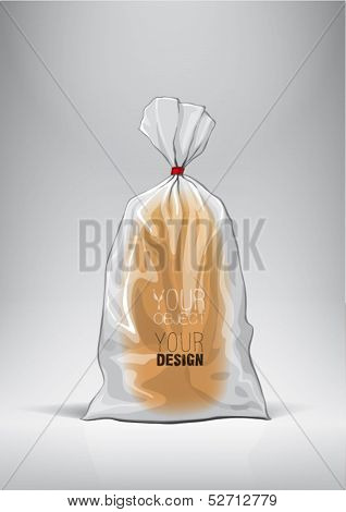 Transparent bag for new design bread package. Sketch style