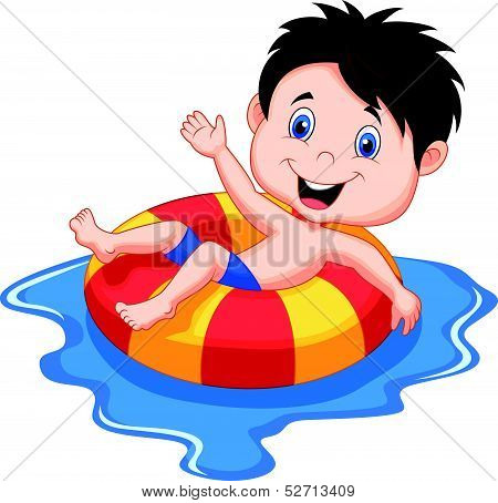 Boy cartoon floating on an inflatable circle in the pool