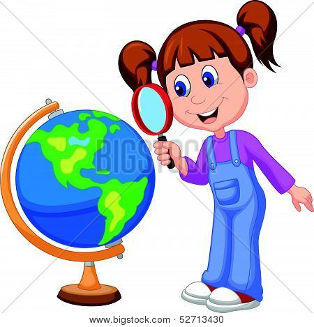 Cartoon girl using magnifying glass looking at globe