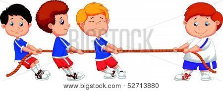 Cartoon Kids playing tug of war