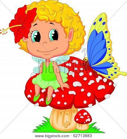 Cartoon Baby fairy elf sitting on mushroom
