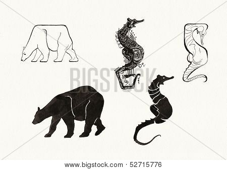 Animal Silhouettes (ink)