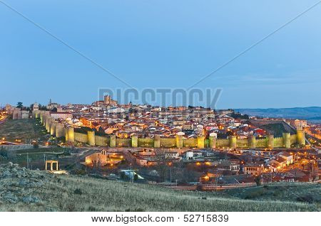 Southern General View Of Avila Defensive Walls At Spain