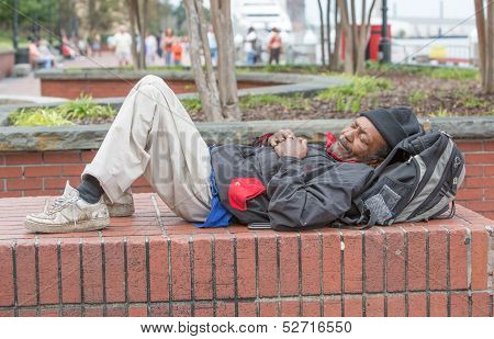 African American Homeless Man Sleeping