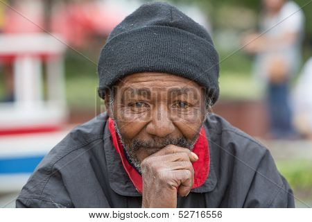 Homeless Man Thinking